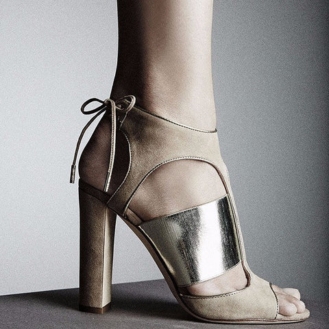 Bella Beige Suede Chunky Heel Sandals for $1.48 at Posh Girl