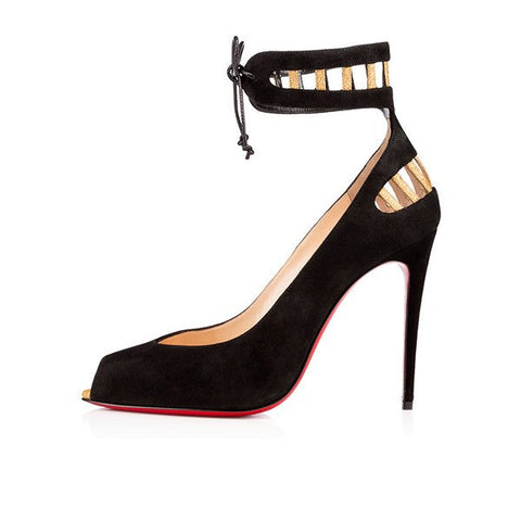 Brands,Shoes,New - Posh Girl Black Ankle Wrap  Red Bottom Pimps