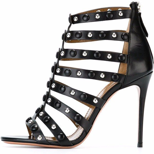 Posh Girl Black Studded Stiletto Sandals-POSH GIRL-Posh Girl