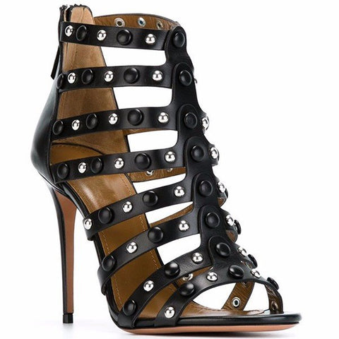 Brands,Shoes,New - Posh Girl Black Studded Stiletto Sandals