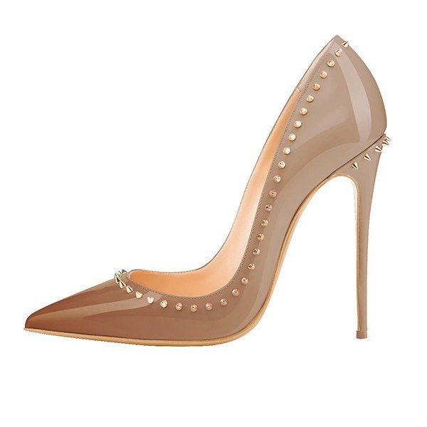 Coffee Studded Stiletto Pumps-POSH GIRL-Posh Girl