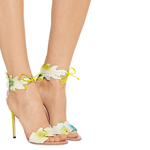 Brands,Shoes,New - Posh Girl Floral Ankle Wrap Stiletto Sandals