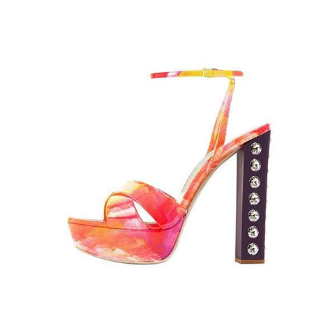 Orange Floral Studded Chunky Heel Platform Sandals for $1.48 at Posh Girl