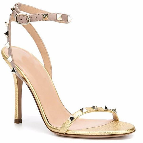 Brands,Shoes,New - Posh Girl Gold Studded Ankle-Wrap Sandals