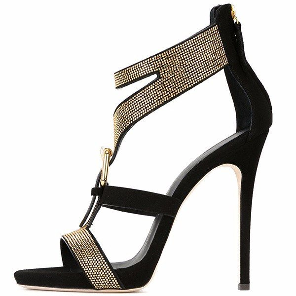Posh Girl Gold Studded T-Strap Sandals-POSH GIRL-Posh Girl