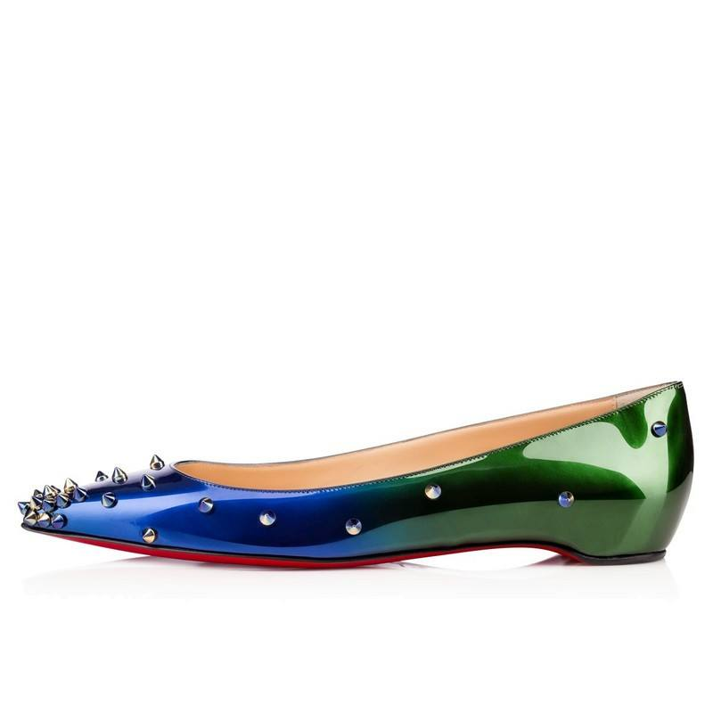 Posh Girl Green Ombre Studded Flat Shoes-POSH GIRL-Posh Girl