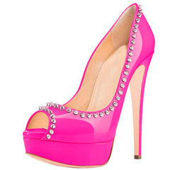 Posh Girl Hot Pink Amina Studded Platform Pumps for $1.48 at Posh Girl