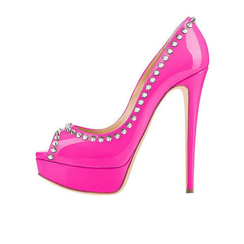 Brands,Shoes,New - Posh Girl Hot Pink Amina Studded Platform Pumps