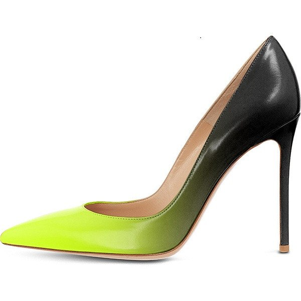 Lime Ombre Stiletto Leather Pumps-POSH GIRL-Posh Girl