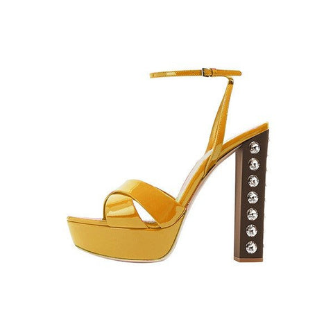 Brands,Shoes,New - Posh Girl Mustard Studded Chunky Heel Platform Sandals