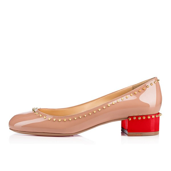 Posh Girl Nude Studded Patent Leather Flat Round Toe Shoes-POSH GIRL-Posh Girl