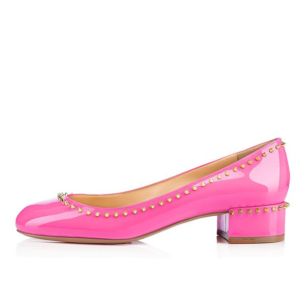 Posh Girl Pink Studded Patent Leather Flat Round Toe Shoes-POSH GIRL-Posh Girl