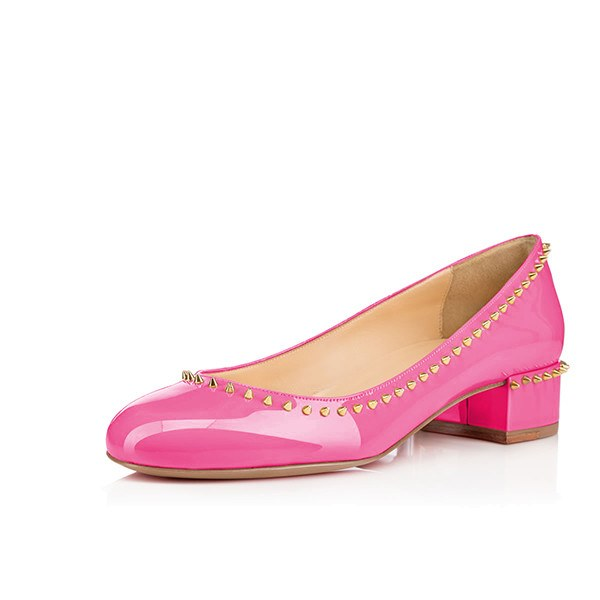 Brands,Shoes,New - Posh Girl Pink Studded Patent Leather Flat Round Toe Shoes