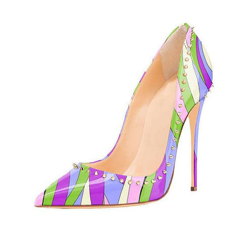 Brands,Shoes,New - Posh Girl Purple Multi Studded Stiletto Pumps