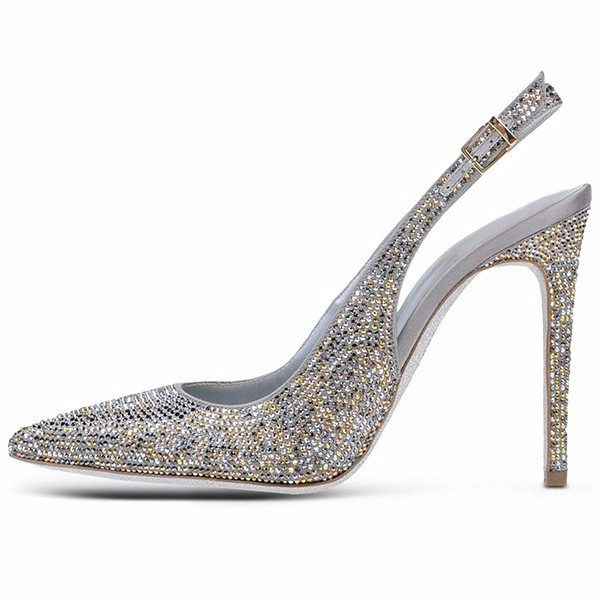 Brands,Shoes,New - Posh Girl Silver Beaded Slingback Pumps
