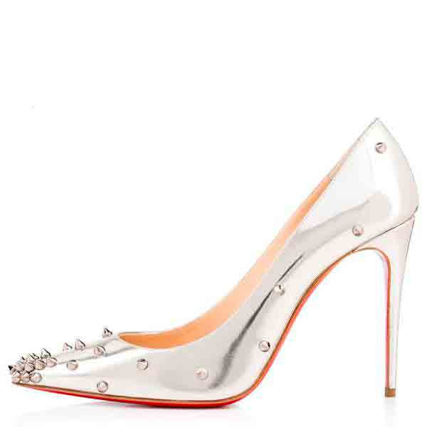 Posh Girl Silver Studded Patent leather Satellite Pumps