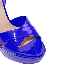 Royal Blue Studded Chunky Heel Platform Sandals for $1.48 at Posh Girl