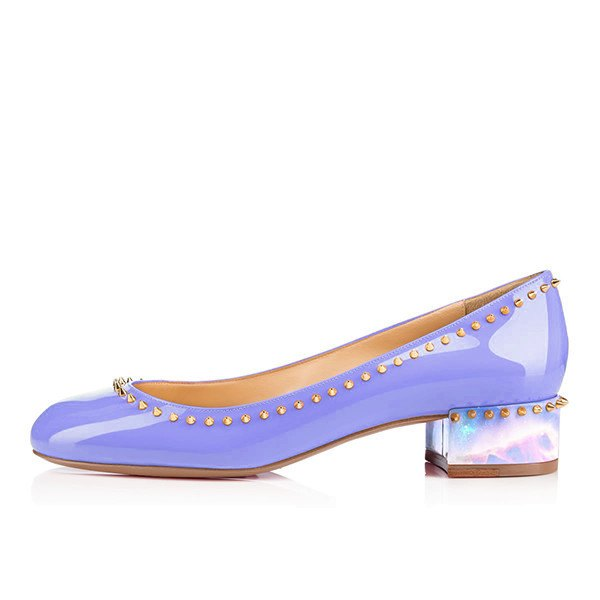 Posh Girl Studded Patent Leather Flat Round Toe Shoes-POSH GIRL-Posh Girl