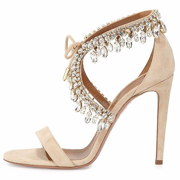 Brands,Shoes,New - Posh Girl Suede Rhinestone Stiletto Sandals