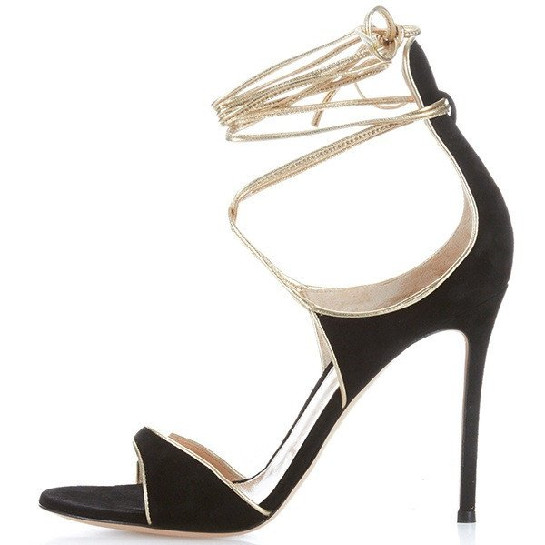 Black Suese Ankle Wrap Lace Stiletto Sandals-POSH GIRL-Posh Girl