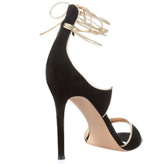 Black Suese Ankle Wrap Lace Stiletto Sandals for $1.28 at Posh Girl