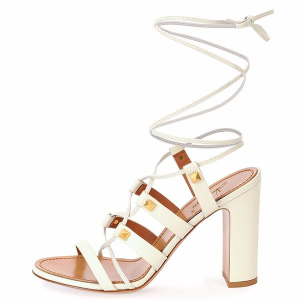White  Sandals Chunky Heel Ankle Wrap Sandals-POSH GIRL-Posh Girl