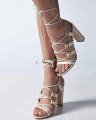 White  Sandals Chunky Heel Ankle Wrap Sandals for $1.38 at Posh Girl