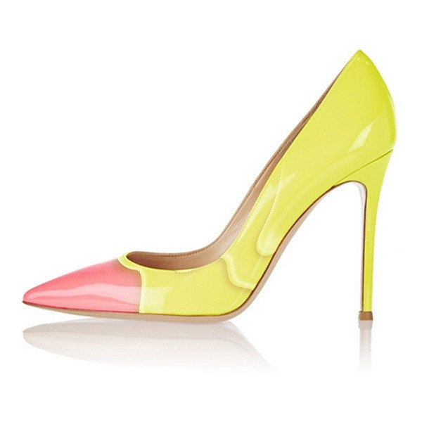 Posh Girl Yellow Sherbet Stiletto Pumps-POSH GIRL-Posh Girl