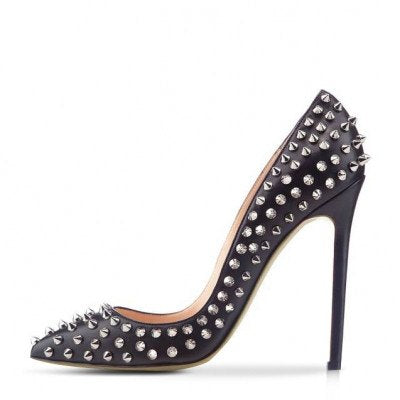 Brands,Shoes - Posh Girl Bebe Black Leather Studded Pumps