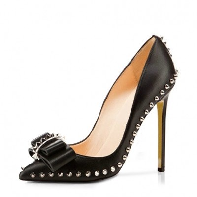 Brands,Shoes - Posh Girl Black Bow Studded Leather Stiletto Pumps
