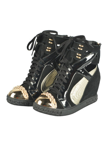 Brands,Shoes - Posh Girl Black & Gold Leather Wedge Sneakers