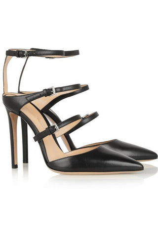 Brands,Shoes - Posh Girl Black Stroppy Ankle Wrap Stiletto Pumps