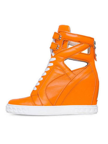 Brands,Shoes - Posh Girl Bright Orange Leather Wedge Sneakers