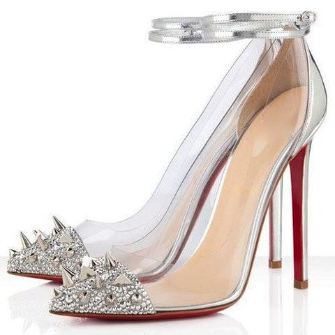 Brands,Shoes - Posh Girl Eva Silver PVC Studded Stiletto Pumps