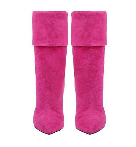 Fuchsia Suede Stiletto Boots for $1.58 at Posh Girl