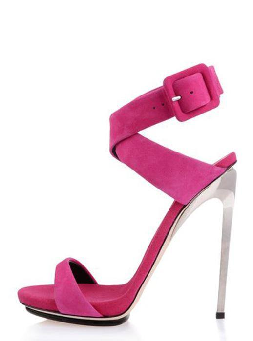 POSH GIRL  Fuchsia Suede Ankle Wrap Sandals for $1.18 at Posh Girl