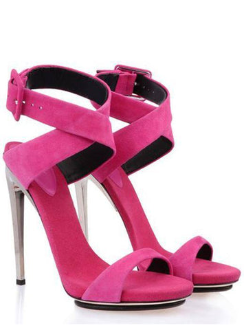Brands,Shoes - POSH GIRL  Fuchsia Suede Ankle Wrap Sandals