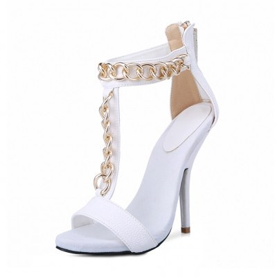 Brands,Shoes - Posh Girl Gold Chain Leather Stiletto Sandals