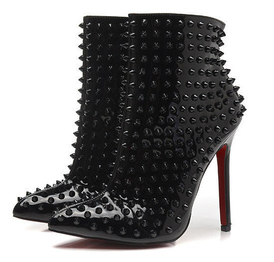 Studded Stiletto Ankle Boots Black-POSH GIRL-Posh Girl