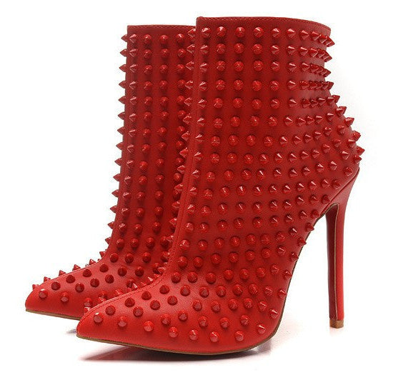 Brands,Shoes - Posh Girl Studded Stiletto Ankle Boots Red