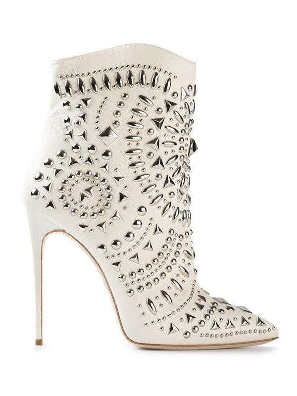 Brands,Shoes - Posh Girl White Studded Leather Boots