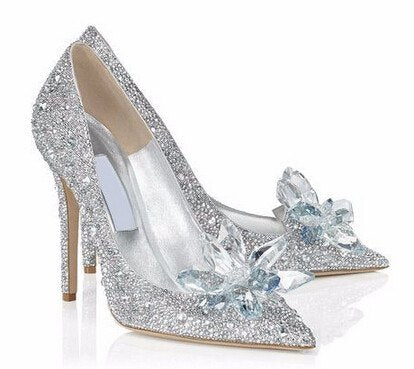 Posh Girl Cinderella Beaded Glass Pumps-POSH GIRL-Posh Girl