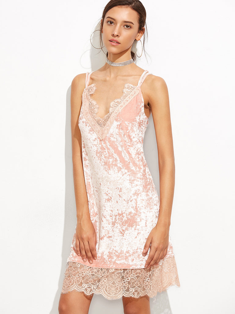 Pink Lace And Velvet Chemise