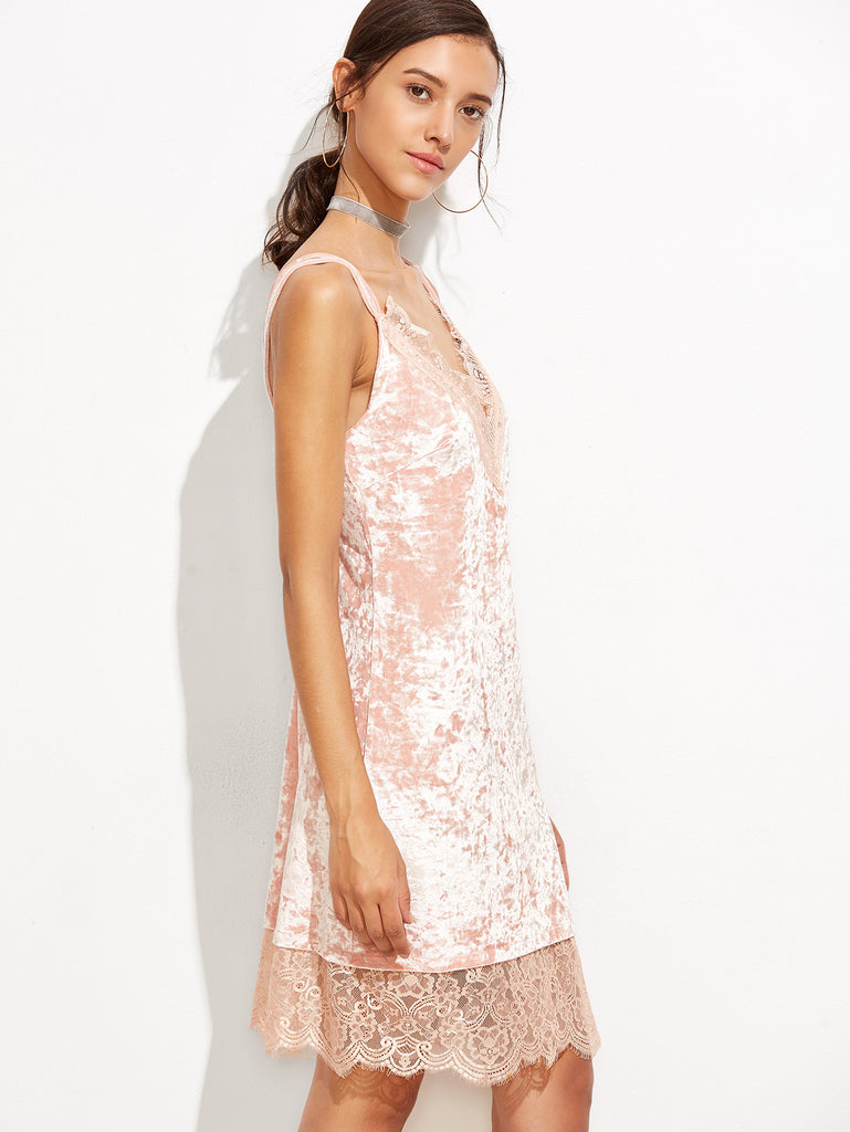 Pink Lace And Velvet Chemise for $0.88 at Posh Girl