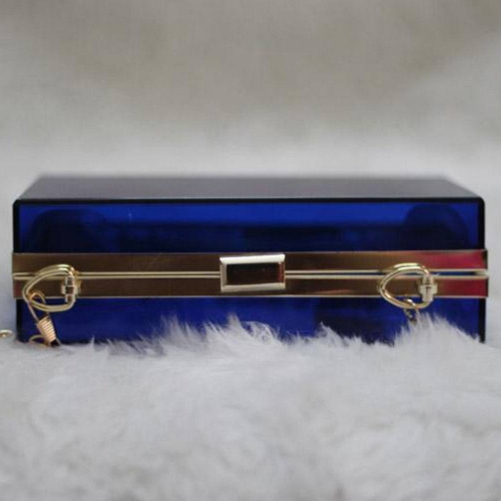 Clutc,Accessories - POSH GIRL Starlet Cobalt  Acrylic Clutch Bag