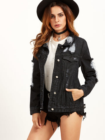 Black Distressed Ripped Back Denim Jacket for $0.88 at Posh Girl