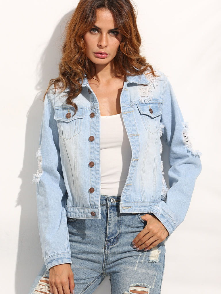 Light Blue Ripped Back Denim Jacket