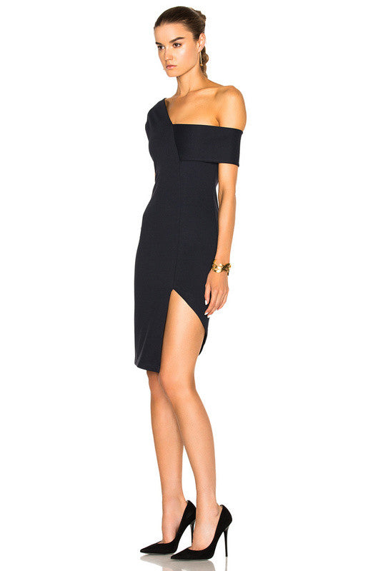 Adriana Black Asymmetrical Bodycon Dress-POSH GIRL-Posh Girl