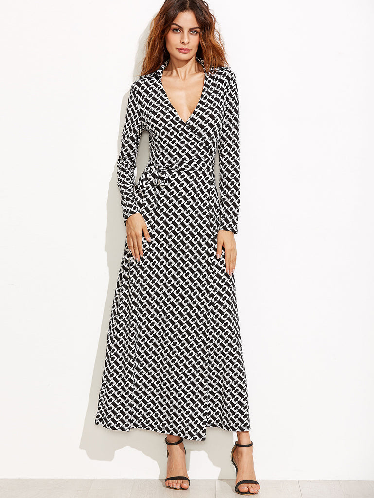Black And White Geo Print Wrap Maxi Dress-POSH GIRL-Posh Girl