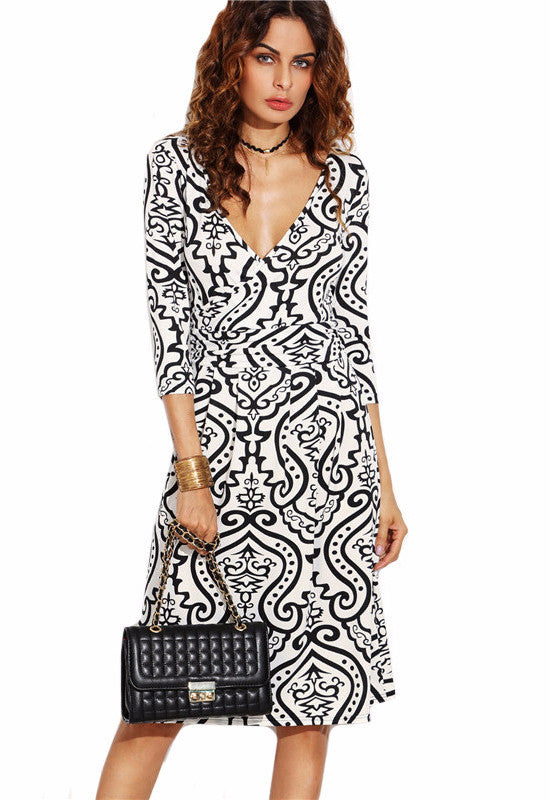Black And White Wrap Bodycon Dress-POSH GIRL-Posh Girl